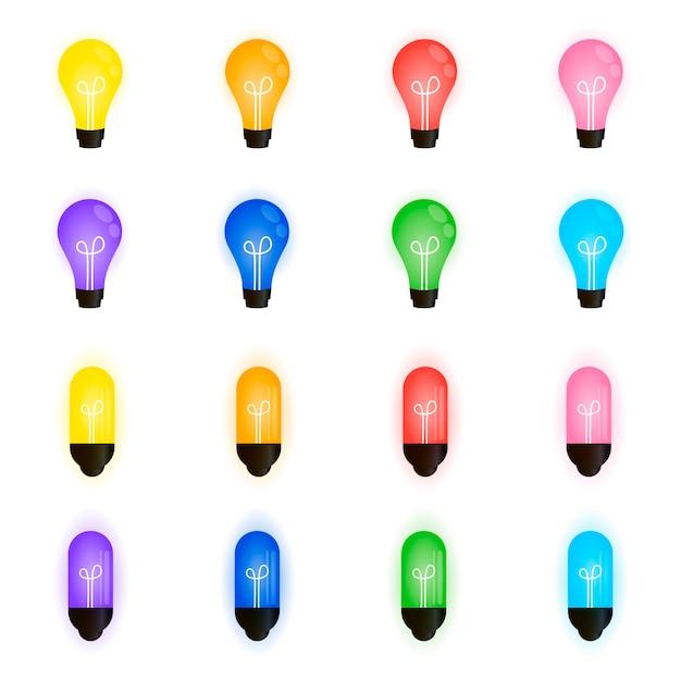 Colección de hermosas bombillas, guirnalda navideña Vector Premium