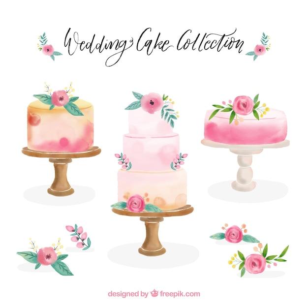 Colección de hermosas tartas de cumpleaños vector gratuito