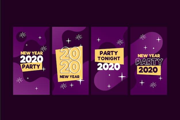 Colección de historia de instagram de fiesta de año nuevo 2020 vector gratuito