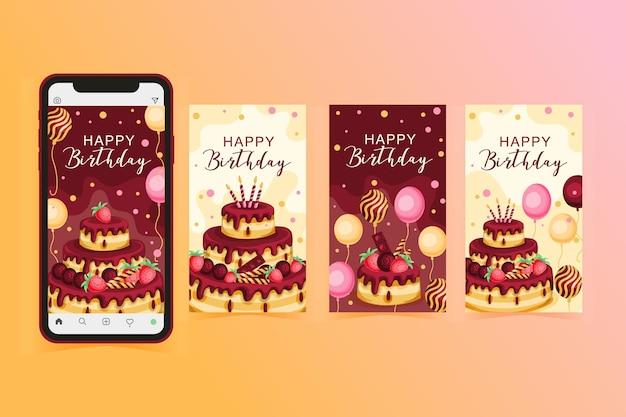Colección de historias de instagram para celebración de cumpleaños Vector Premium