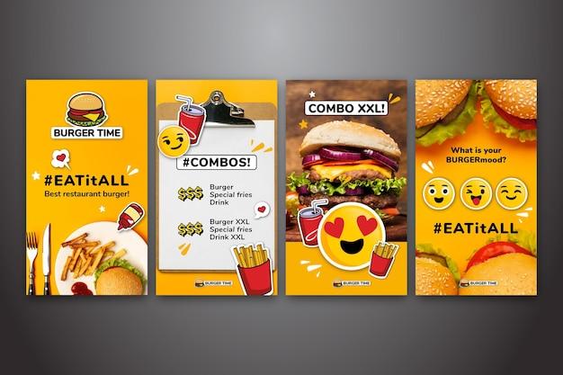 Colección de historias de instagram para comida rápida vector gratuito