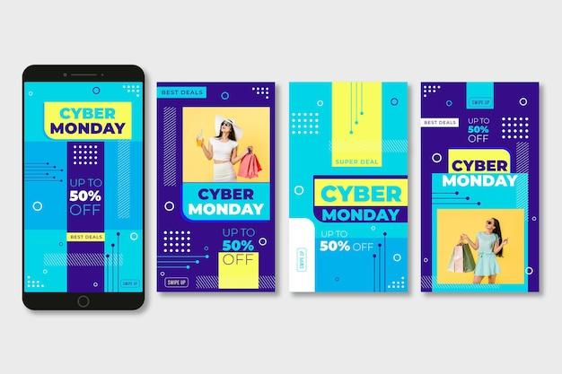Colección de historias de instagram de cyber monday vector gratuito