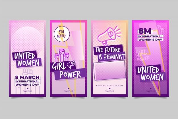 Colección de historias de instagram del día internacional de la mujer vector gratuito