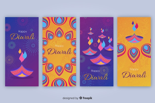 Colección de historias de instagram de diwali vector gratuito