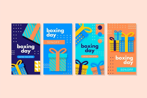 Colección de historias de instagram de rebajas de boxing day Vector Premium
