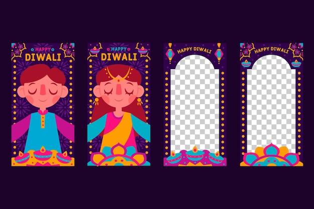 Colección de historias de instagram de rebajas de diwali vector gratuito