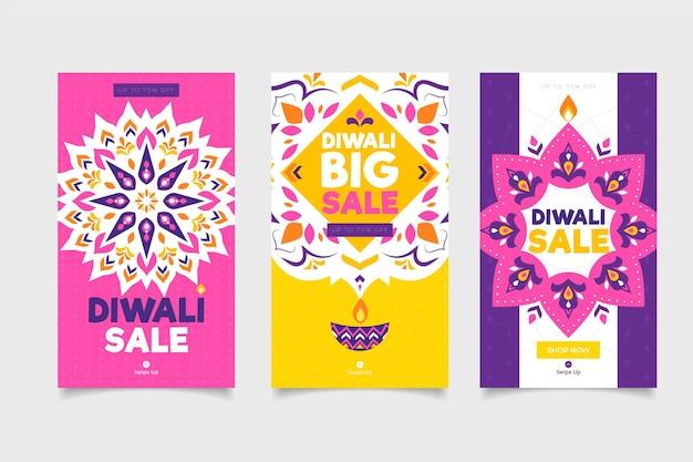 Colección de historias de instagram de rebajas de diwali Vector Premium