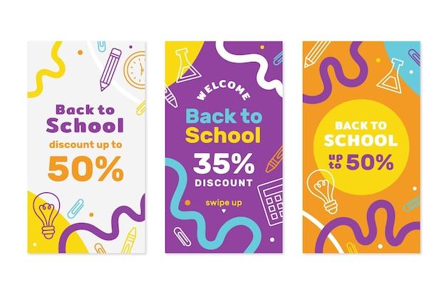 Colección de historias de instagram de regreso a la escuela vector gratuito