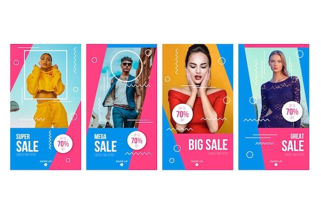 Colección de historias de instagram de ventas vector gratuito