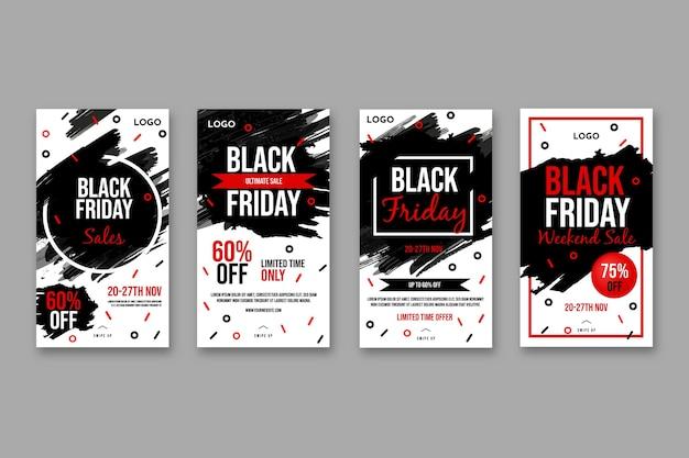 Colección de historias de instagram del viernes negro vector gratuito