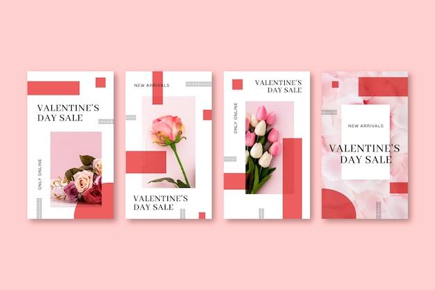 Colección de historias de rebajas del día de san valentín vector gratuito
