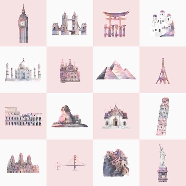 Colección de hitos arquitectónicos pintados de acuarela. vector gratuito