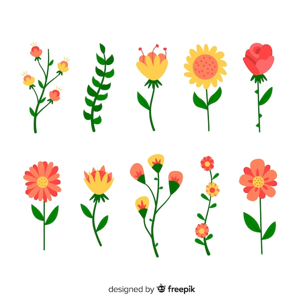 Colección de hojas y flores en diseño plano vector gratuito