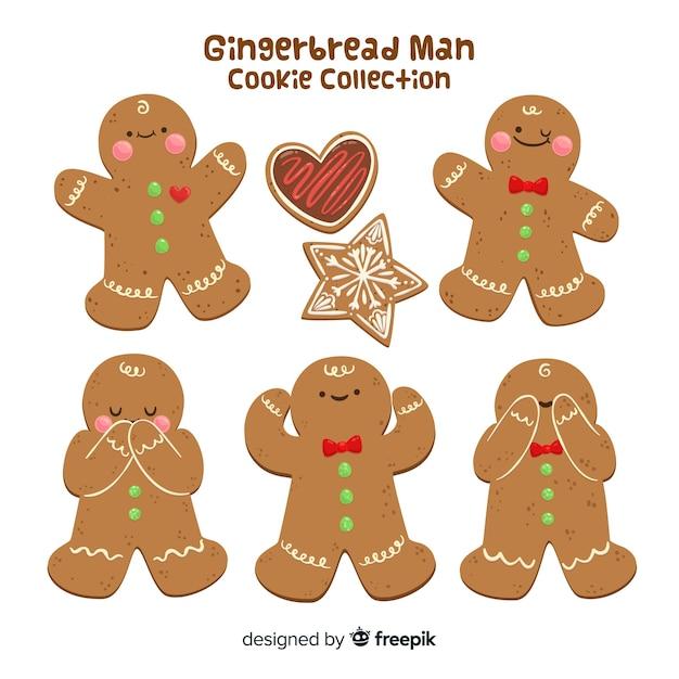 Colección hombre pan de jengibre en diferentes posturas vector gratuito
