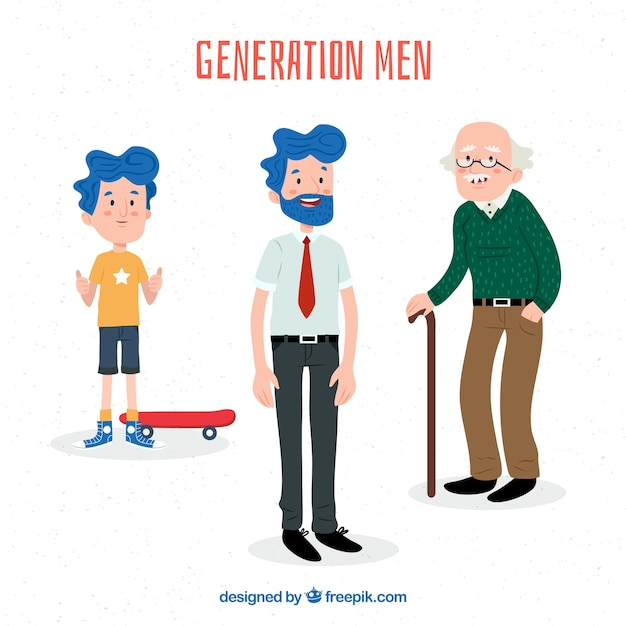 Colección de hombres en diferentes edades vector gratuito