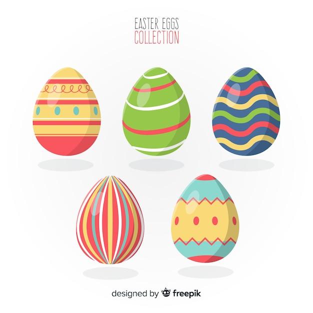 Colección de huevos del día de pascua en diseño plano vector gratuito