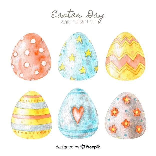Colección de huevos del día de pascua vector gratuito