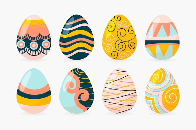 Colección de huevos de pascua dibujados a mano vector gratuito