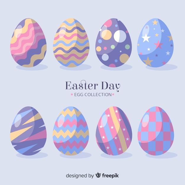 Colección de huevos de pascua en diseño plano vector gratuito