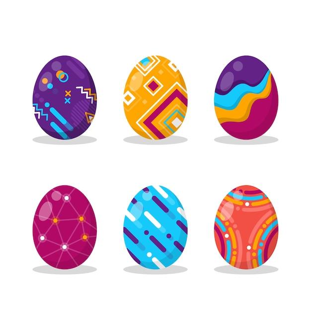 Colección de huevos de pascua de diseño plano vector gratuito