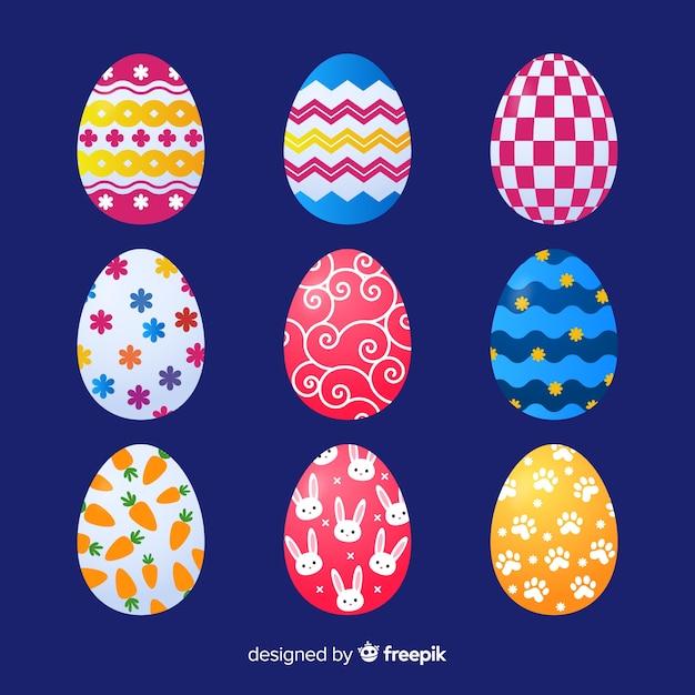 Colección de huevos de pascua realista vector gratuito