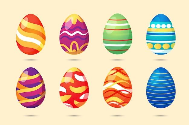 Colección de huevos de pascua Vector Premium