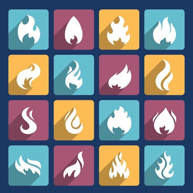 Colección de iconos de la antorcha olímpica vector gratuito