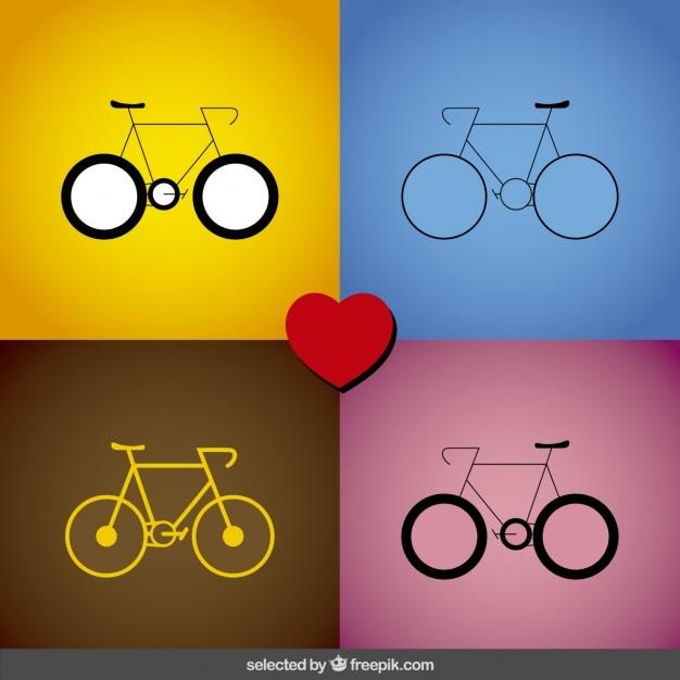 Colección de iconos de bici vector gratuito