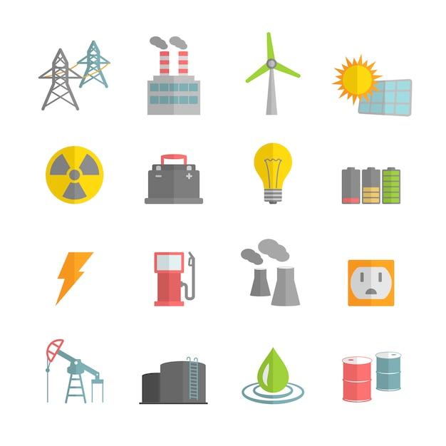 Colección de iconos de centrales de enería vector gratuito