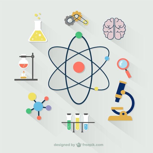 Colección de iconos científicos vector gratuito