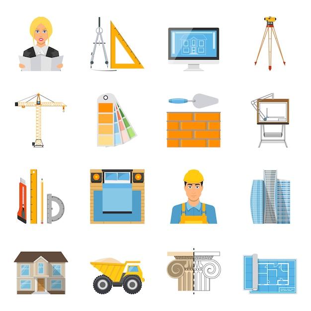 Colección de iconos de colores planos de arquitecto vector gratuito