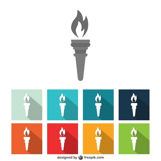 Colección de iconos coloridos de antorchas vector gratuito