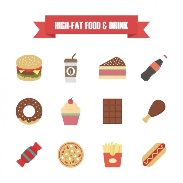 Colección de iconos de comida rápida vector gratuito