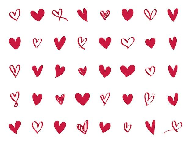 Colección de iconos de corazón ilustrados vector gratuito