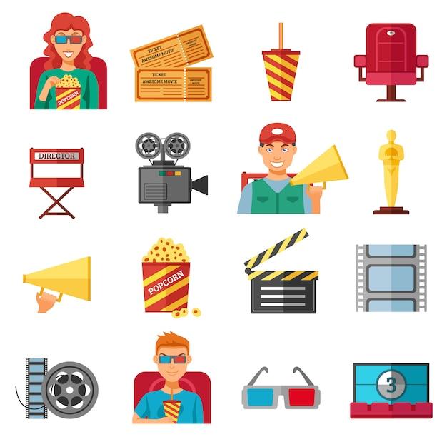 Colección de iconos decorativos de color plano cine vector gratuito