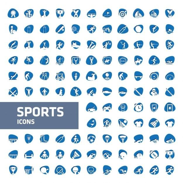 colecci u00f3n de iconos de deporte azules y blancos