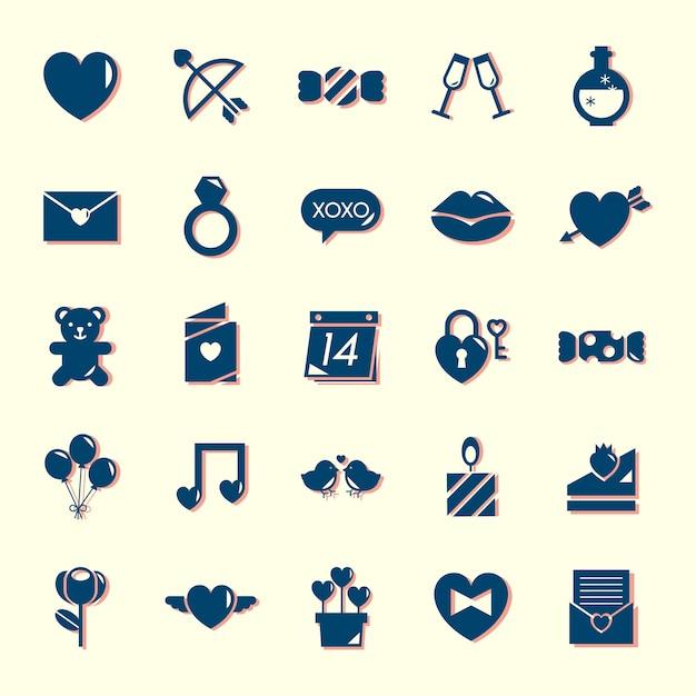 Colección de iconos del día de san valentín vector gratuito