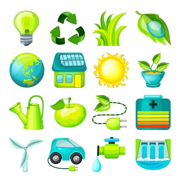 Colección de iconos de dibujos animados ecológicos vector gratuito