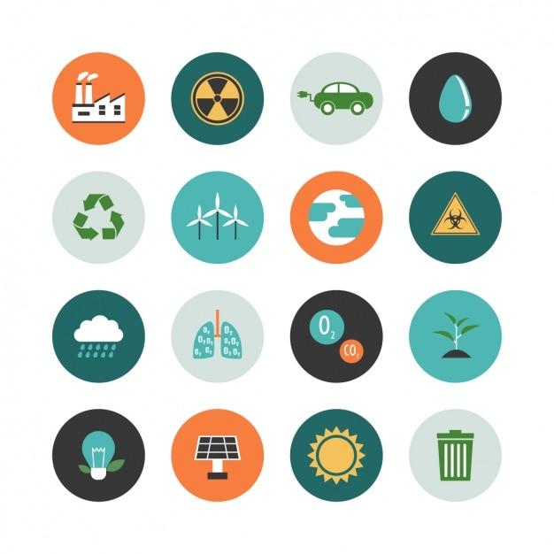 Colección de iconos de ecología vector gratuito