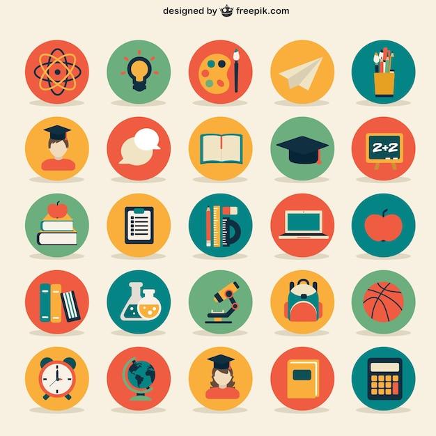 Colección de iconos de educación vector gratuito