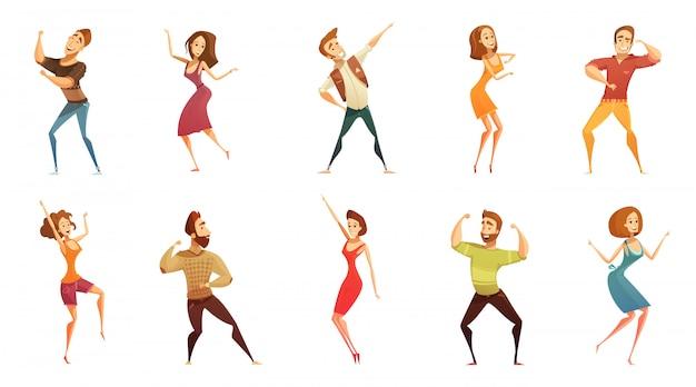 Colección de iconos de estilo de dibujos animados divertidos de personas bailando con hombres y mujeres en movimiento libre plantea aisla vector gratuito