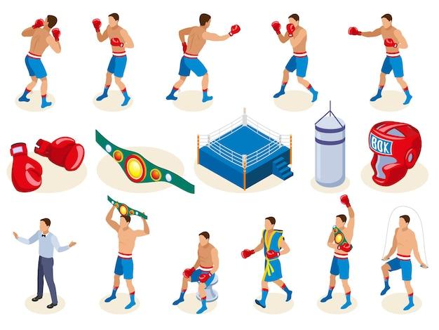 Colección de iconos isométricos de caja con equipo de boxeo aislado y personajes humanos masculinos de atletas vector gratuito