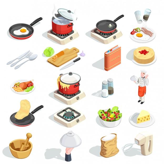 Colección de iconos isométricos de cocina vector gratuito