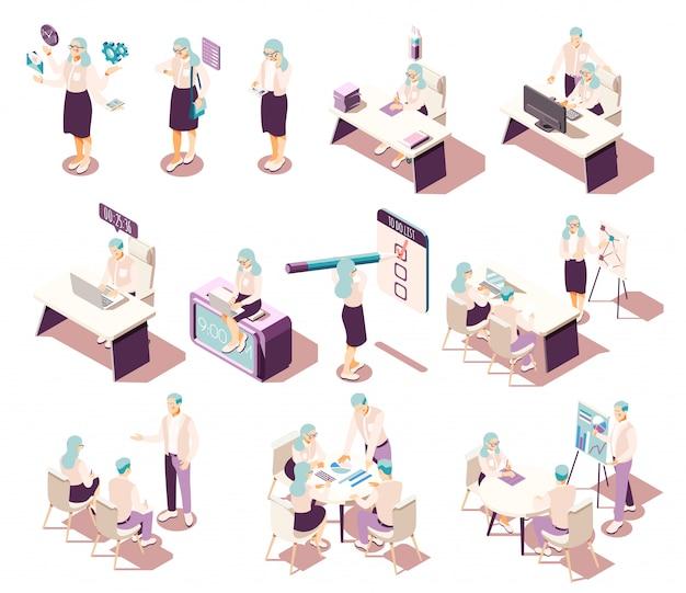 Colección de iconos isométricos de gestión eficaz con muebles de personajes humanos aislados y pictogramas conceptuales con elementos de productividad. vector gratuito