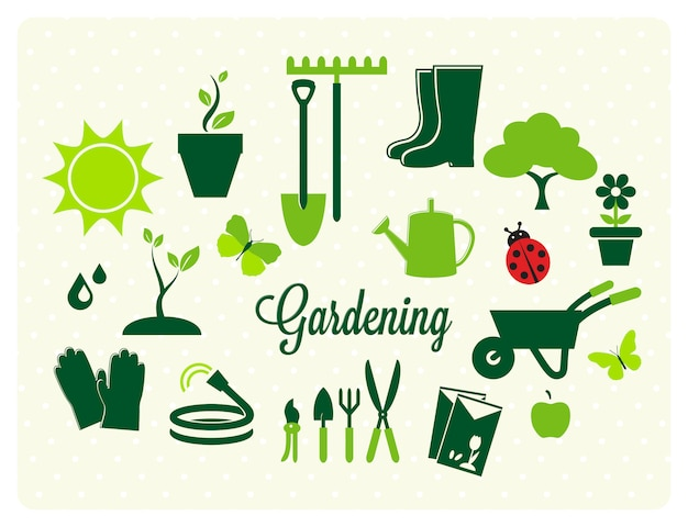 Colección de iconos de jardinería vector gratuito