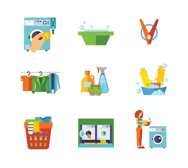 Colección de iconos de lavandería vector gratuito