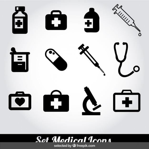 Colección de iconos médicos blancos y negros vector gratuito
