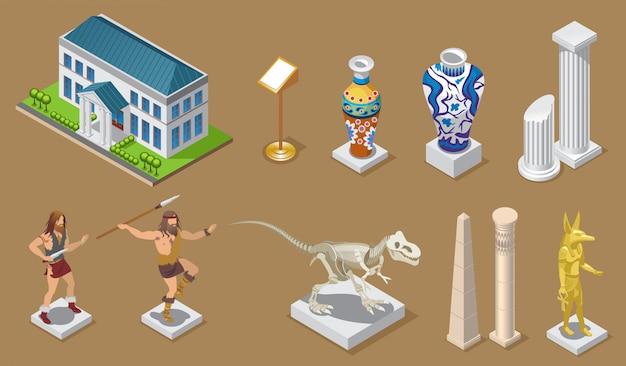 Colección de iconos de museo isométrico con edificio jarrones antiguos columnas construcciones egipcias gente primitiva dinosaurio faraón exhibiciones aisladas Vector Premium