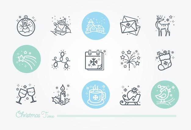 Colección de iconos de navidad Vector Premium