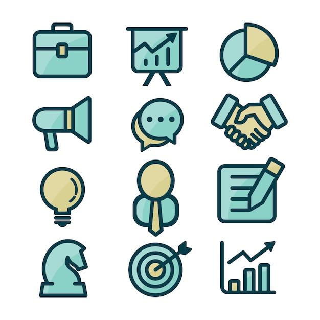 Colección de iconos de negocios vector gratuito